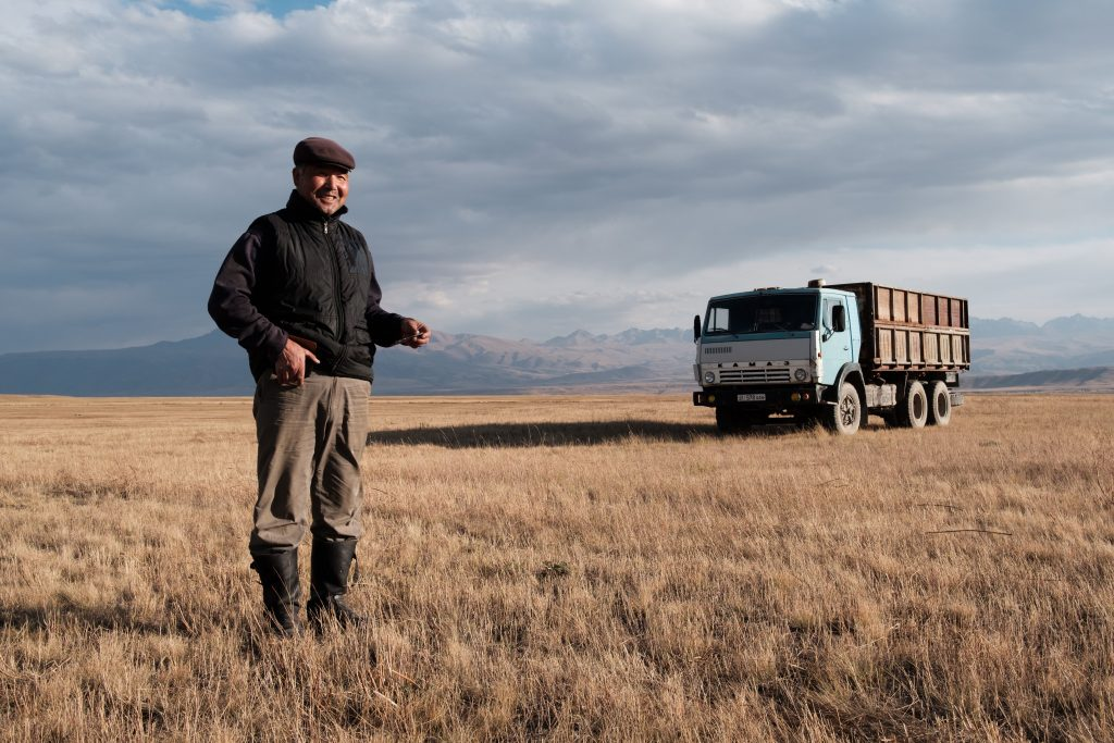 "Photo by Nyani Quarmyne, text by Laura Salm-Reifferscheidt, submitted by Talant Sultanov, Kyrgyzstan, 2018 - Elchibek Karabaev, 58, September 2018, is a farmer in the Suusamyr Valley in the Tian Shan Mountains in Kyrgyzstan, where he has 20 hectares of grain fields, 200 sheep, 40 horses and 10 cows. He does not use the Internet for doing business himself, but he sees the importance of fast and reliable connectivity in the valley. ""Suusamyris very mountainous and underdeveloped. It is known for its rough climate and the harsh winters. Internet will help to bring this place forward,"" Karabaev says. ""The Internet has a lot of benefits. We get more news. Before there was only one TV channel and two weekly papers that reached us here. Now we can get news from all around the world."""