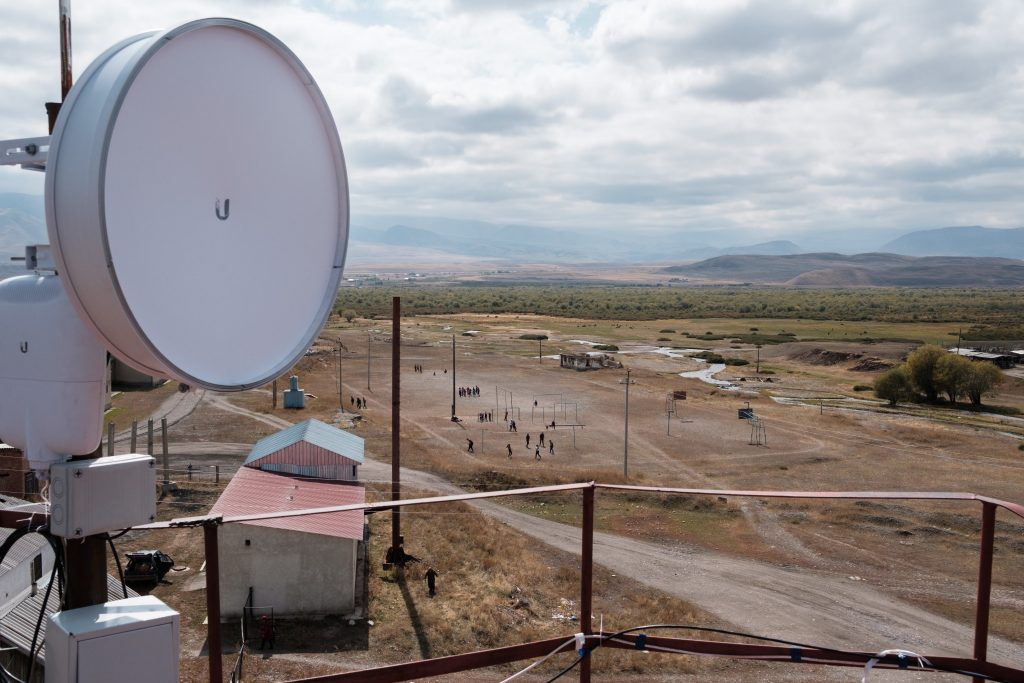 Photo by Nyani Quarmyne, text by Laura Salm-Reifferscheidt, submitted by Talant Sultanov, Kyrgyzstan, 2018 - A dish bringing a high-speed wireless Internet link to the village of Suusamyr, which lies above 200m in a valley of the same name in the Tian Shan Mountains in Kyrgyzstan, on 13 October 2018. The village is home to community network Suusamyr Net, and now that the main link has been established, the network will soon be providing residents with connections by fibre to the home.