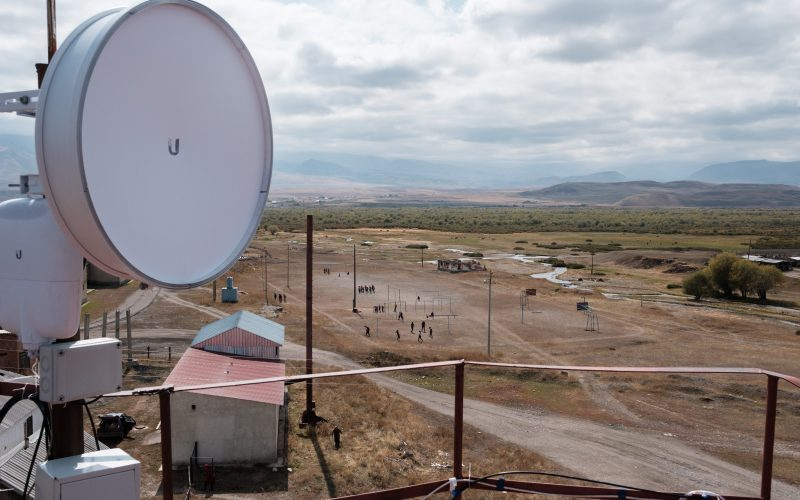 Talant Sultanov Kyrgyzstan, 2018, A dish bringing a high-speed wireless Internet link to village of Suusamyr, which lies above 200m in a valley of the same name in the Tian Shan Mountains in Kyrgyzstan, on 13 October 2018. The village is home to community network Suusamyr Net, and now that the main link has been established, the network will soon be providing residents with connections by fibre to the home.